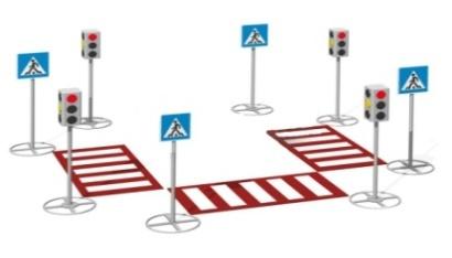 Пешеходный переход со знаками и светофорами 26.18 26.18 26.18 26.18