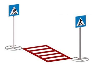 Пешеходный переход со знаками 26.16 26.16 26.16 26.16