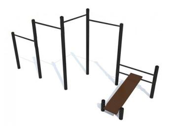 Каскад турников со скамьей для пресса (цельнометаллический) 16.5 16.5 16.5 16.5