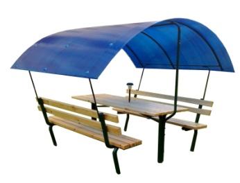 Стол со скамьями навес 19.20 19.20 19.20 19.20